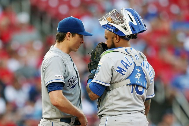 Kansas City Royals catcher Martin Maldonado (R) will provide depth for the Chicago Cubs while starting catcher Willson Contreras is on the injured list. File Photo by Bill Greenblatt/UPI