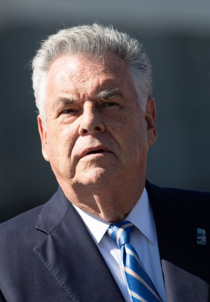 New York Rep. Peter King speaks to reporters on Capitol Hill in Washington, D.C., on September 19. File Photo by Kevin Dietsch/UPI