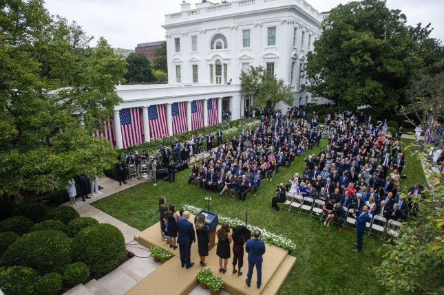 At least seven people have tested COVID-19 positive after attending a Rose Garden ceremony to nominate Judge Amy Coney Barrett to the Supreme Court. Photo by Shawn Thew/UPI