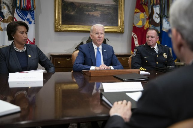 President Joe Biden delivers remarks on his strategy to reduce gun crime at the White House on Monday. President Biden was seated next to Washington, D.C., Mayor Muriel Bowser (L) and Wilmington, Del., Police Chief Robert Tracy (R). Photo by Sarah Silbiger/UPI