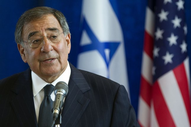 U.S. Defense Secretary Leon Panetta speaks during a joint press conference with his Israeli counterpart Ehud Barak following a meeting at the defense ministry during an official visit to Israel in, Tel Aviv on October 3, 2011 . UPI/Jack Guez/Pool