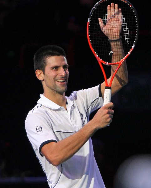 Novak Djokovic, shown in a tournament last November, dropped just two games Tuesday in posting a first-round victory at the Australian Open. UPI/David Silpa