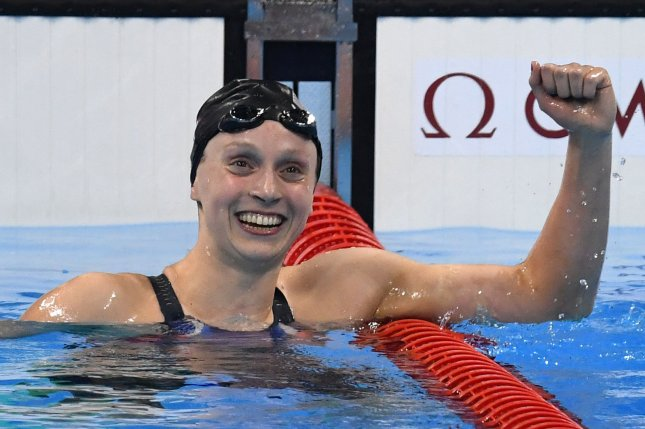 Katie Ledecky (USA) posts a gold medal record time of 8:04.79 in the Women's 800M Freestyle final in the Olympic Aquatics Stadium at the 2016 Rio Summer Olympics in Rio de Janeiro, Brazil, on August 12, 2016. Photo by Richard Ellis/UPI