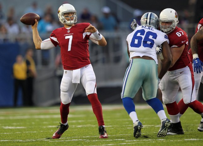 Arizona Cardinals quarterback Blaine Gabbert throws a pass during a preseason game against the Dallas Cowboys in August. Photo by Aaron Josefczyk/UPI