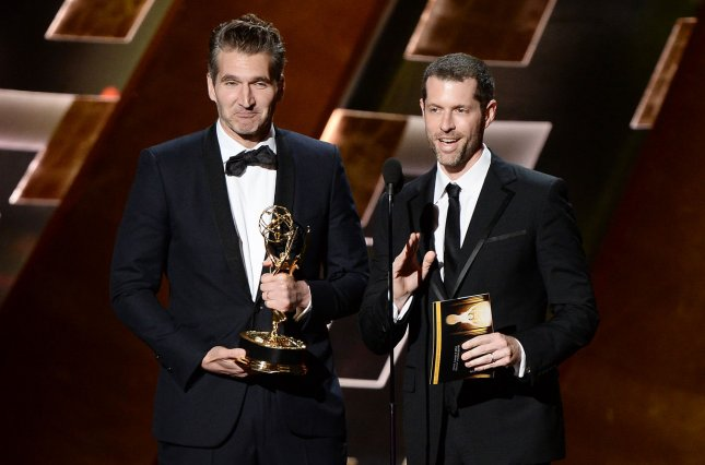 David Benioff (L) and D.B. Weiss said they made every possible mistake with the first pilot they filmed for Game of Thrones. File Photo by Ken Matsui/UPI