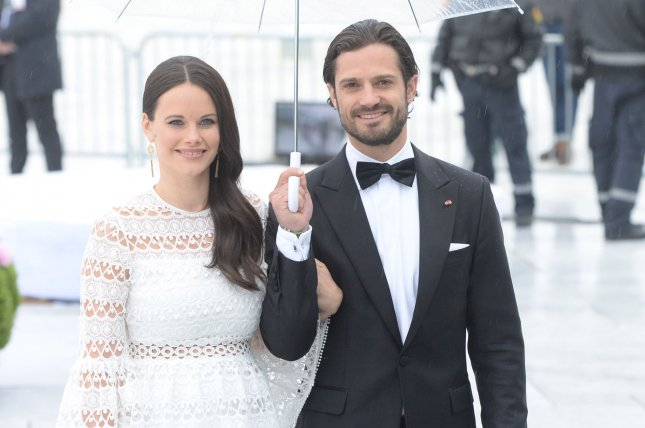 Princess Sofia (L), pictured with Prince Carl Philip, will aid healthcare workers on the frontlines during the coronavirus pandemic. File Photo by Rune Hellestad/ UPI