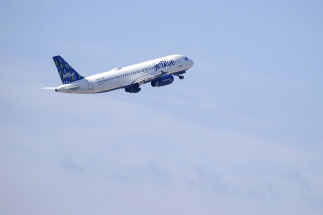 JetBlue revenues were down about 90% and passenger traffic was down by 94% compared to last year, the airline said in an earnings report Tuesday. File Photo by John Angelillo/UPI