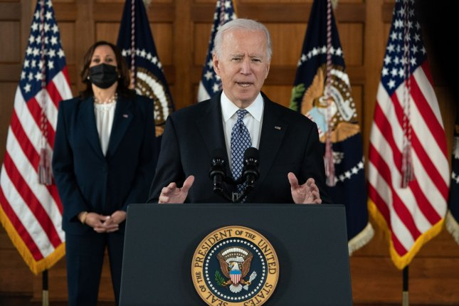 President Joe Biden, joined by Vice President Harris, delivers remarks after meeting with Asian American community leaders and lawmakers on the campus of Emory University in Atlanta on Friday. Photo by Kevin Dietsch/UPI