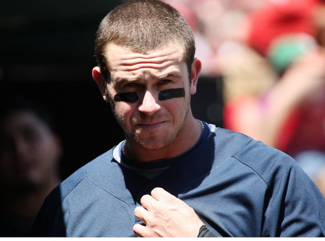 Tampa Bay Rays Evan Longoria watches the action from the dugout during a game against the St. louis Cardinals at Busch Stadium in St. Louis on May 18, 2008. (UPI Photo/Bill Greenblatt)