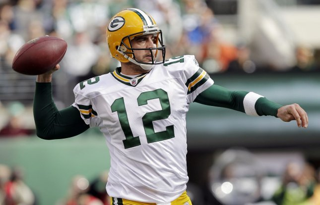 Green Bay Packers quarterback Aaron Rodgers throws a pass against the New York Jets in the second quarter in week 8 of the NFL season at New Meadowlands Stadium in East Rutherford, New Jersey on October 31, 2010. The Packers defeated the Jets 9-0. UPI /John Angelillo