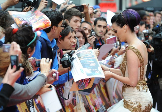 American singer Katy Perry attends the European premiere of Part Of Me 3D at The Empire Leicester Square in London on July 3, 2012. UPI/Paul Treadway