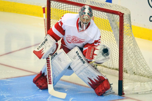 Detroit Red Wings goalie Jimmy Howard (35) warms up prior to the game against the Washington Capitals at the Verizon Center in Washington, D.C. on February 2, 2014. UPI/Mark Goldman