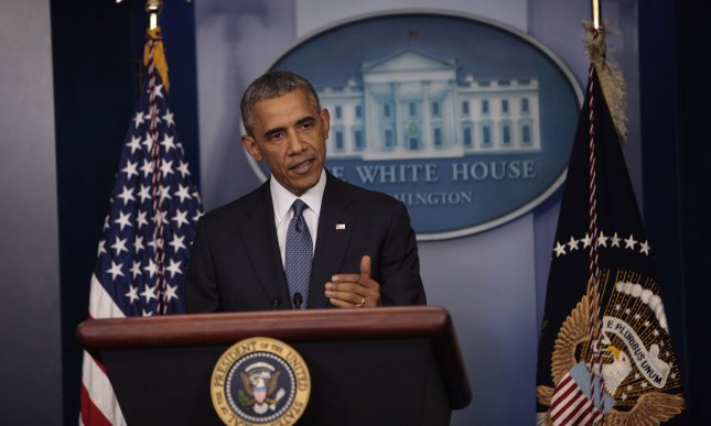 President Barack Obama makes a statement at the daily briefing in the White House briefing room in Washington, DC on August 1, 2014 UPI/Dennis Brack/Pool