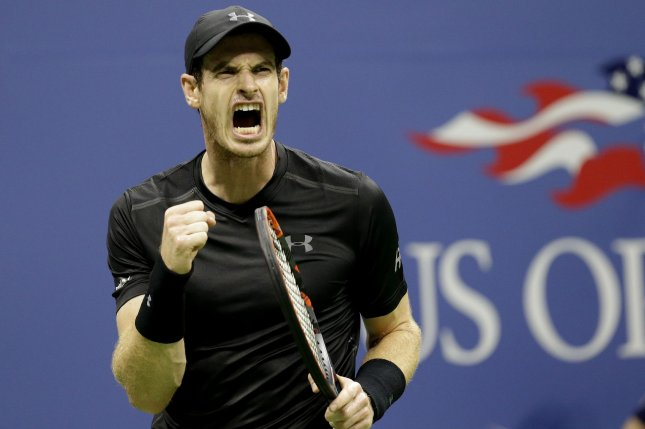 Andy Murray of England reacts after winning a game in the 3rd set of his match against Lukas Rosol of the Czech Republic in the first round in Arthur Ashe Stadium at the 2016 US Open Tennis Championships at the USTA Billie Jean King National Tennis Center in New York City on August 30, 2016. Photo by John Angelillo/UPI