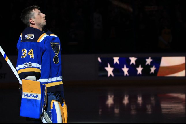 St. Louis Blues goaltender Jake Allen stands for the National Anthem before a game against the Anaheim Ducks at the Scottrade Center in St. Louis on March 10, 2017. Photo by Bill Greenblatt/UPI