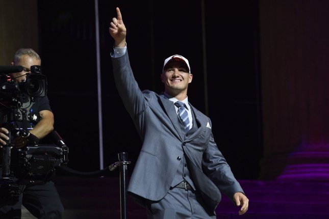 Mitchell Trubisky waves to the crowd after being selected by the Chicago Bears as the second overall pick in the 2017 NFL Draft at the NFL Draft Theater in Philadelphia, PA on April 27, 2017. Photo by Derik Hamilton/UPI