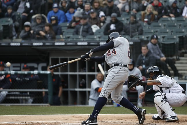 Detroit Tigers first baseman Miguel Cabrera (24) singles against the Chicago White Sox in the first inning on April 5 at Guaranteed Rate Field in Chicago. Photo by Kamil Krzaczynski/UPI