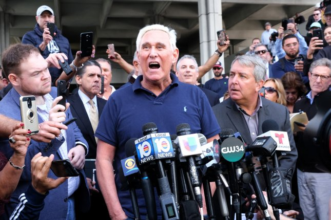 Roger Stone can no longer speak directly outside the courthouse regarding his case stemming from the Robert Mueller probe. Photo by Gary I Rothstein/UPI