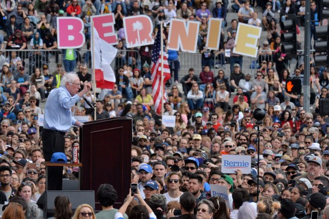 Sen. Bernie Sanders, a candidate for the Democratic presidential nomination, addresses thousands of supporters during a campaign rally at Grand Park in the shadow of City Hall in Los Angeles on Saturday. Photo by Jim Ruymen/UPI.