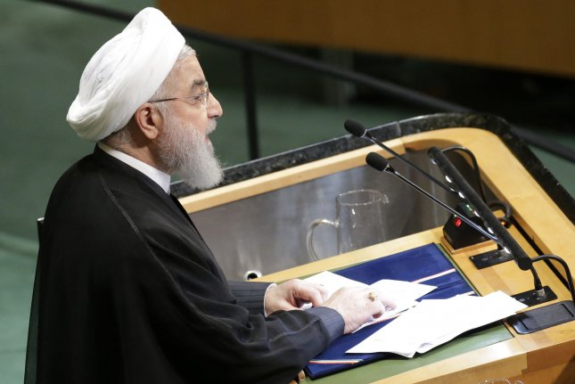Iranian President Hassan Rouhani speaks at the United Nations last September. File Photo by John Angelillo/UPI