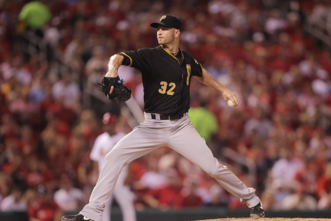 Pittsburgh Pirates starting pitcher J.A. Happ delivers a pitch to the St. Louis Cardinals in the seventh inning at Busch Stadium in St. Louis on September 4, 2015. Happ held the Cardinals scoreless through the seven innings. Photo by Bill Greenblatt/UPI
