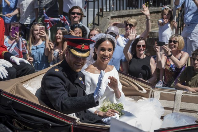 Prince Harry and Meghan Markle -- seen here on their wedding day May 19 -- attended Saturday's Trooping the Color event in London. Pool photo by Stephen Chung/UPI
