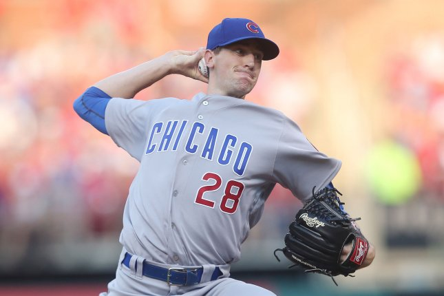 Chicago Cubs starting pitcher Kyle Hendricks delivers a pitch to the St. Louis Cardinals in the first inning on June 16, 2018 at Busch Stadium in St. Louis. Photo by Bill Greenblatt/UPI