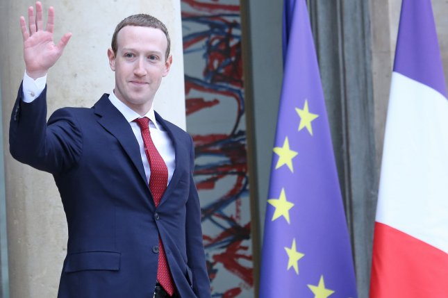 Facebook CEO Mark Zuckerberg leaves the Elysee Palace in Paris, France, May 10 after meeting with French President Emmanuel Macron. Photo by David Silpa/UPI