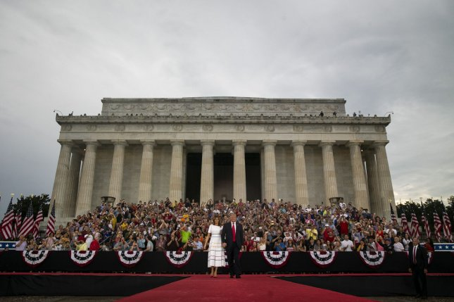 U.S. President Donald Trump and First Lady Melania Trump arrive during the Fourth of July Celebration 'Salute to America' event in Washington, D.C., on Thursday, July 4, 2019. Photo by Al Drago/UPI