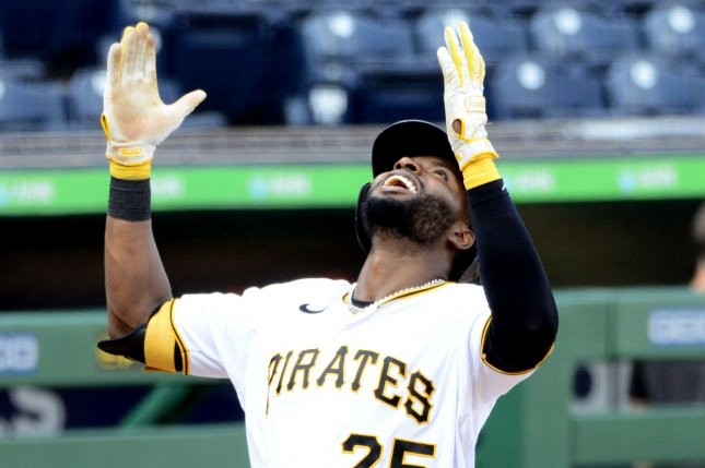 Pittsburgh Pirates right fielder Gregory Polanco (25) homers in the eighth inning to lift his team for a 5-4 win over the Milwaukee Brewers at PNC Park in Pittsburgh, Pa., on Sunday. Photo by Archie Carpenter/UPI
