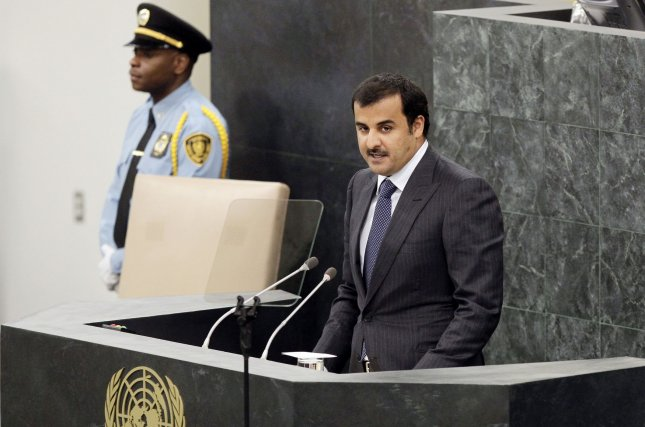 Sheikh Tamim bin Hamad Al-Thani, Amir of the State of Qatar, addresses the United Nations General Debate at the 68th United Nations General Assembly in the UN building in New York City on September 24, 2013. UPI/John Angelillo