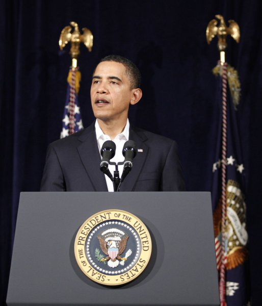 U.S. President Barack Obama speaks at Marine Corps Base Hawaii, Dec. 28, 2009, on increased security for air travel, after an attempted terror attack on Northwest Flight 253. UPI/Kent Nishimura/Pool