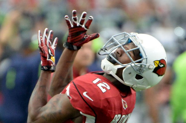 Arizona Cardinals receiver John Brown catches a pass as he warm up before the Cardinals-Seattle Seahawks game at University of Phoenix Stadium in Glendale Arizona, January 3, 2016. Photo by Art Foxall/UPI