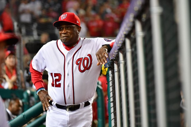 Washington Nationals manager Dusty Baker stands in the dugout during game 1 of the NLDS at Nationals Park in Washington, D.C. on October 6, 2017. Photo by Kevin Dietsch/UPI