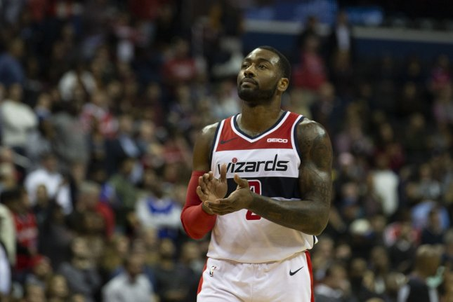 Washington Wizards guard John Wall scored a game-high 40 points against the Los Angeles Lakers on Sunday in Washington, D.C. Photo by Alex Edelman/UPI