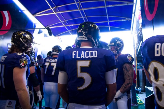 Former Baltimore Ravens quarterback Joe Flacco was officially traded to the Denver Broncos Wednesday. Flacco lost his job to rookie Lamar Jackson in 2018. File Photo by Kevin Dietsch/UPI