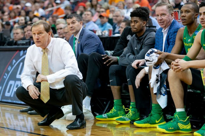Oregon Ducks head coach Dana Altman (L) will lose Ducks freshman standout Bol Bol to the 2019 NBA Draft. Bol hired an agent from CAA on Friday. Photo by Bryan Woolston/UPI