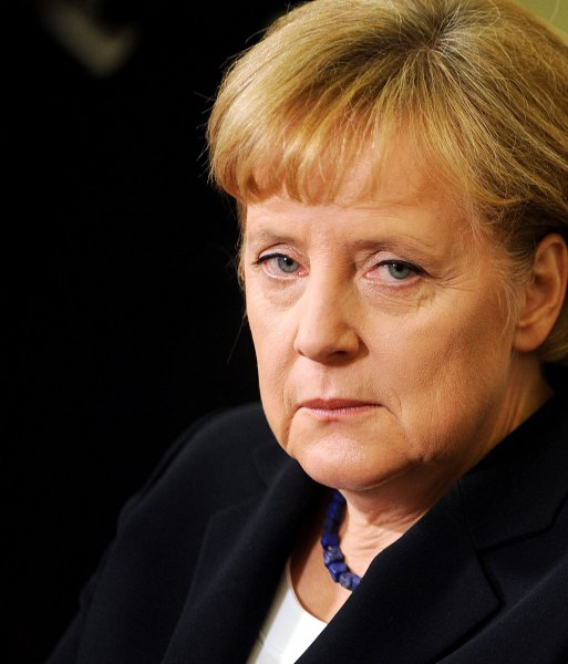German Chancellor Angela Merkel, who sternly called for Greece to make it clear whether it wishes to continue being a member of the Eurozone. UPI/Olivier Douliery/Pool