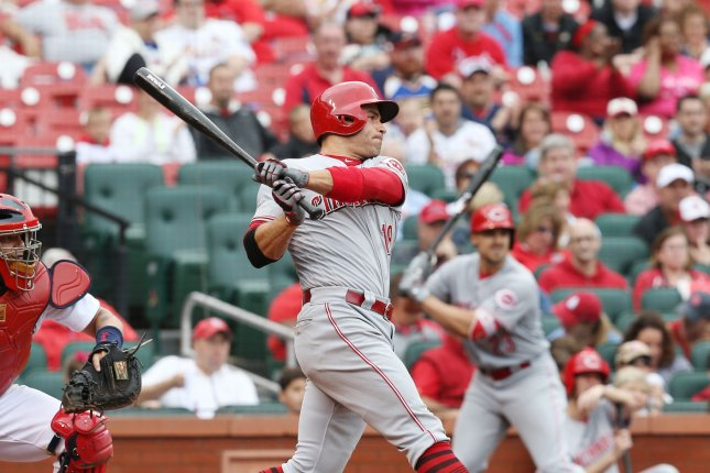 Cincinnati Reds' Joey Votto swings, hitting a single. File photo by Bill Greenblatt/UPI