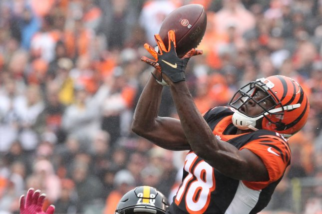 Cincinnati Bengals wide receiver A.J. Green (18) had at least 100 targets and 1,000 yards in six of his first seven NFL seasons. File Photo by John Sommers II/UPI