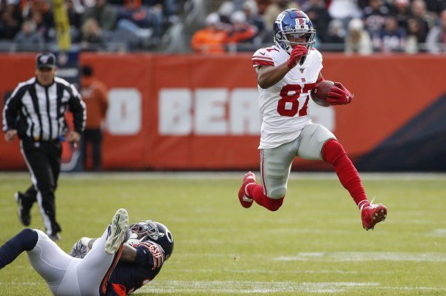 New York Giants wide receiver Sterling Shepard (87) scored his second touchdown of the season in Week 13 and has a great matchup in Week 14. Photo by Kamil Krzaczynski/UPI