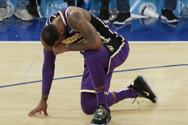 Los Angeles Lakers superstar LeBron James has appeared in 54 of the Lakers' 56 games this season. File Photo by John Angelillo/UPI