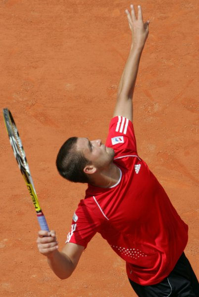 Mikhail Youzhny, shown during the 2008 French Open, collected a straight-set victory Friday in helping Russia to a 2-0 lead over India in a best-of-five Davis Cup series. (UPI Photo/Eco Clement)