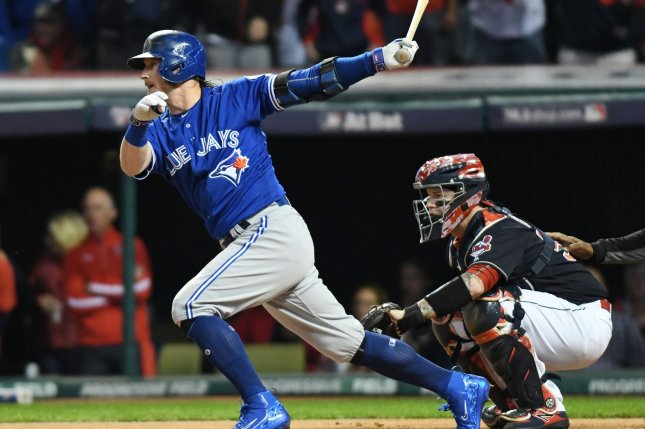 Toronto Blue Jays' Josh Donaldson smacks a base hit to right field against Cleveland Indians' pitcher Corey Kluber in first inning of game 1 of the American League Championship Series on October 14 at Progressive Field in Cleveland, Ohio. File Photo by Kyle Lanzer/UPI