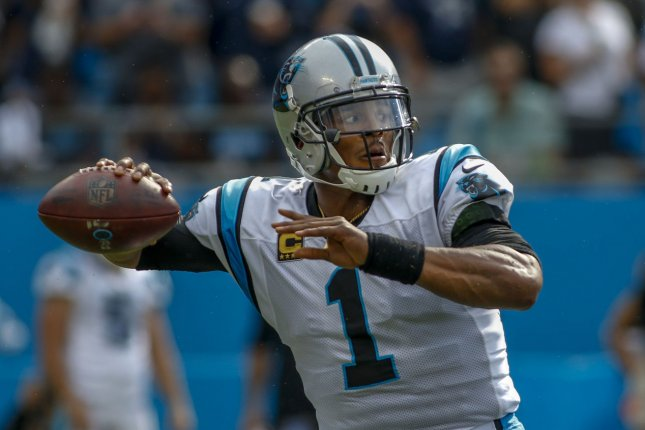Carolina Panthers quarterback Cam Newton gets ready to pass during a game against the Dallas Cowboys on September 9, 2018. Photo by Nell Redmond/UPI