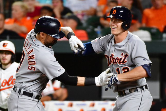 Detroit Tigers outfielder Nicholas Castellanos (L) is hitting .273 with 11 home runs and 37 RBIs this season. File Photo by David Tulis/UPI