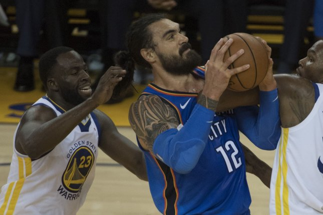 Steven Adams (12) was one of several Oklahoma City Thunder players evacuated from a mall following a shooting Thursday in Oklahoma City. File Photo by Terry Schmitt/UPI