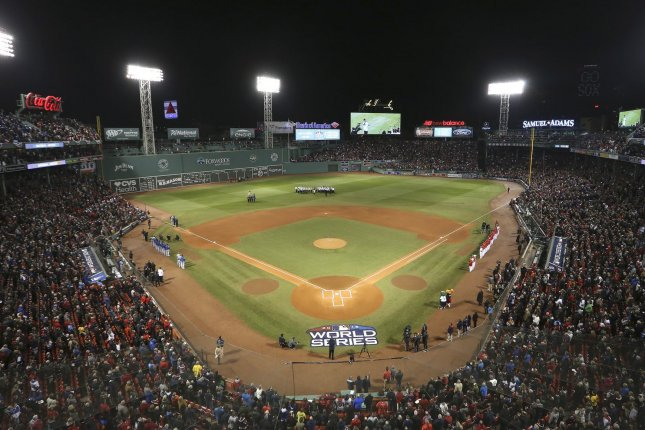 The Boston Red Sox, along with the other four Massachusetts professional sports teams, can resume practicing at their respective facilities starting June 6. File Photo by Matthew Healey/UPI