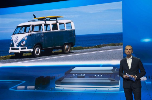 The classic minibus is seen at an event at the2016 International CES trade show in Las Vegas, Nev., on January 5, 2016. File Photo by Molly Riley/UPI