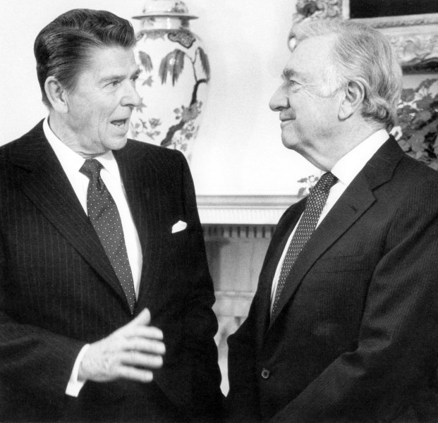 Journalist and CBS anchorman Walter Cronkite (R), seen in a March 3, 1981 file photo with former President Ronald Reagan, died at the age of 92 in New York on July 17, 2009. (UPI Photo/File)